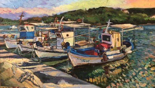 Christine Smith Paints Among the Fishermen in Porto Heli